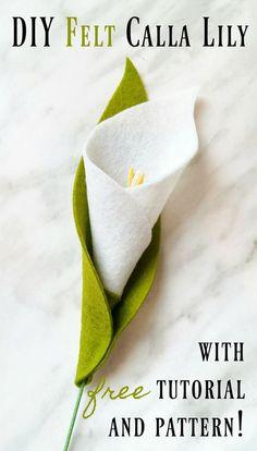 Tutoriel de bricolage en feutre Calla Lily et modèle gratuit! DIY Felt Calla Lily Tutorial and Free Felt Crafts Diy, Felt Diy, Fabric Crafts, Fun Crafts, Felt Flower Template, Felt Flower Tutorial, Bow Tutorial, Felt Flower Diy, Pinwheel Tutorial