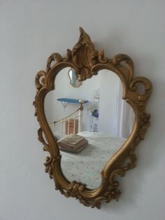 Ornate French Vintage Gold Gilded Mirror, French chic, bedroom or bathroom mirror, small French gilded mirror