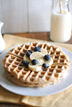Skinny banana whole wheat waffles