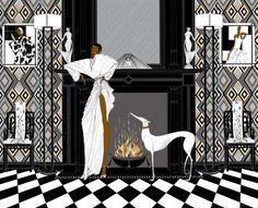 """Woman with Greyhound"" via spiffo An Erte-type drawing. spiffo: Art Deco inspired illustration - Woman with Greyhound (source unknown) Art Nouveau, Art Deco Illustration, Illustrations, Illustration Sketches, Greyhound Art, Art Deco Posters, Art Deco Design, Dog Art, Art Deco Fashion"