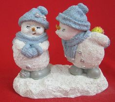 Snow Buddies Ready To Kiss 12083 Snowman Figurine Christmas Love  #SnowBuddies