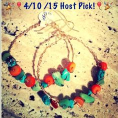 🎉 4/10 host Pick🎉Handmade wrapped gemstone hoops Gemstone wire  wrapped hoops, perfect for date night!  Also makes amazing addition to your vacation wardrobe🌴🌞 Jewelry
