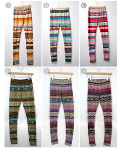 Knitted Leggings with Ethnic Patterns