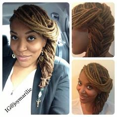 Elegant side swept braid style with locs. I love this for when my hair grows longer! Dreadlock Styles, Dreads Styles, Updo Styles, Loc Updo, Coiffure Hair, Beautiful Dreadlocks, Dreadlock Hairstyles, Natural Hair Inspiration, Hair Dos
