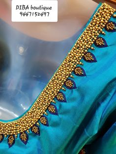 This can used as a designer sari blouse and can be done on plain sari as a border Wedding Saree Blouse Designs, Pattu Saree Blouse Designs, Blouse Designs Silk, Designer Blouse Patterns, Aari Embroidery, Embroidery Neck Designs, Hand Work Embroidery, Modern Embroidery, Indian Embroidery