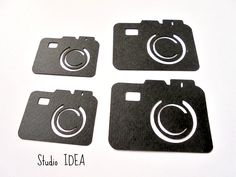 Black Photo Camera Cut outs, Embellishments- & Foto Camera Confetti-or Choose Your Colors- Set of Party Supplies, Craft Supplies, Scrapbook Embellishments, Cut Outs, Cupcake Toppers, Confetti, Banners, Centerpiece, Awards