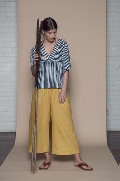 Stripe Blue and White Linen Top + Yellow linen Culotte. Porcelain Brigid McLaughlin
