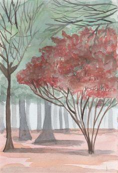 arbre rouge - aquarelle