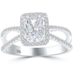 1.56 Carat H-VS2 Radiant Cut Natural Diamond Engagement Ring 18k Vintage Style - Thumbnail 1