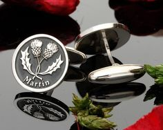 Double Scottish Thistle Silver Cufflinks - MyPersonalJewellery