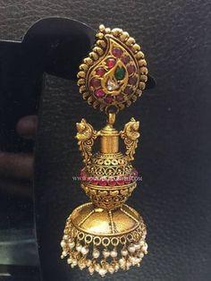 Gold Long Antique Jhumka Design, 22K Gold Long Jhumka Designs, Antique Long Jhumkas.