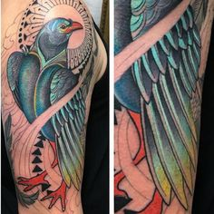 A bit of color on this fish crow piece! Thanks so much Michael!! #austintx #austintattoo #tattoo