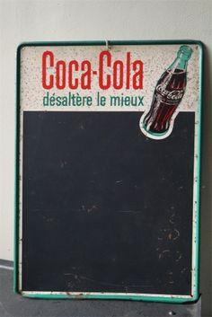 plaque publicitaire ardoise metal Coca Cola dans son jus