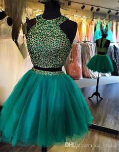 Modern Two Pieces Short Beaded Homecoming Dresses 2016 Sexy Knee Length Cocktail…