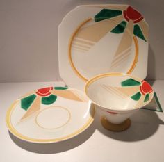 VERY RARE SHELLEY ART DECO VOGUE TRIO RED AND GREEN SUNRAY in Pottery, Porcelain & Glass, Porcelain/ China, Shelley | eBay