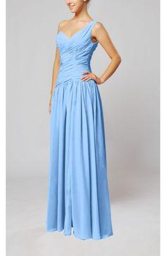 Light Blue Guest Dress - Plain Column One Shoulder Sleeveless Chiffon Ruching Wedding