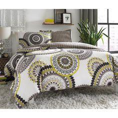 #CityScene Lemon Drop Bedding from @wayfair. #Wayfair #bedroom #bed #bedding #yellow