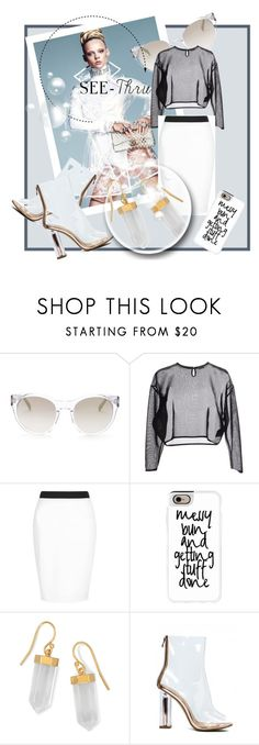 """""""It's All Clear Now"""" by kari-c ❤ liked on Polyvore featuring Elie Tahari, Yves Saint Laurent, New Look, Casetify, BillyTheTree, clear and Seethru"""