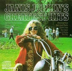 Janis Joplin on a motorcycle.  Click the pic for a page of motorcycle themed album covers.