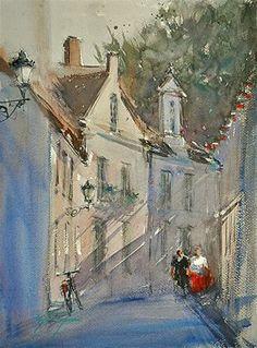 """Afternoon in Bruges, Belgian Landscape Painting"" - Original Fine Art for Sale - © Keiko Tanabe"