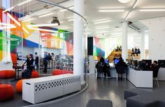 """A magnificent look at a well planned and put together teen space for the Hamilton Grange Teen Center in New York City.  Note the open spaces, the focused activity centers, and plenty of """"personal"""" places for teens to either socialize, read, or play, as they see fit."""