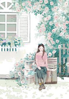 Cute Pastel Wallpaper, Kawaii Wallpaper, Cartoon Girl Drawing, Cartoon Art, Cover Wattpad, Beautiful Landscape Wallpaper, Bff Drawings, Cute Profile Pictures, Painting Wallpaper