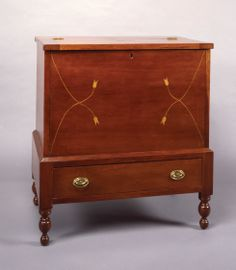 Sugar Chest, cherry with light wood inlay, ca. Southern Furniture, Antique Chest, Blanket Chest, Ohio River, Museum Collection, Early American, Furniture Inspiration, Craftsman Style, Antique Furniture