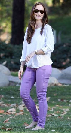 michaelstars: Film & TV actress, Minka Kelly, was spotted at Coldwater Canyon Park in Beverly Hills wearing Michael Stars' Luxe Slub Mesh ¾ Sleeve Boatneck Tee (Style love her pairing of our tee with colorful jeans! Great look! What do you think? Princess Outfits, Girl Outfits, Casual Outfits, Fashion Outfits, White Outfits, Summer Outfits, Minka Kelly Style, Kelly Green Dresses, Star Fashion