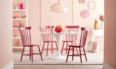 Pink Dining Room. A monochromatic color scheme features varying shades and tints of a single color. By strategically coordinating your decor using contrasting hues and mixing in unique textures, patterns, prints, and styles, you can create a design that is equal parts expressive and attractive. Your monochromatic color palette can vary from room to room depending on the mood you're trying to evoke in each space.