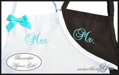 Mr. and Mrs. Wedding Apron Gift Set - Bride and Groom -His and Hers Personalized Wedding Ribbon Bow White Aqua Tiffany Blue Dark Gray Pewter