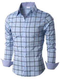 Doublju Mens Long Sleeve Check Print Shirts (KMTSTL0180) #doublju