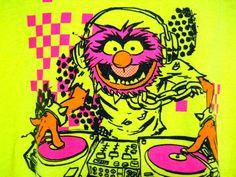 "XL Muppets ""Animal"" Tee Shirt Neon Yellow Green DJ Music Turntable Rave Hot Pink"