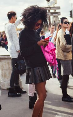 Julia Sarr-Jamois: In LOVE with her hair- too bad mine is dark blonde and straight. :(