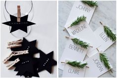 christmas cards and table decorations