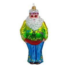 Hippie Father Christmas Bauble, hand made and painted Christmas Tree Baubles, Father Christmas, Holiday Decor, Handmade, Papa Noel, Hand Made, Craft, Santa Clause