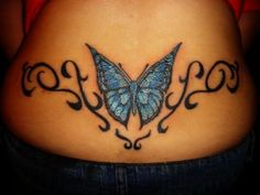Wrist Bracelet Tattoo Designs with blue male butterfles | Tribal Blue Butterfly Tattoo Picture