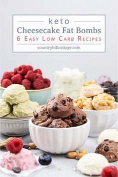 Keto Cheesecake Bites – 6 Easy Fat Bomb Recipes How to make easy keto cheesecake bites and learn 6 tasty variations of this 3 ingredient fat bombs. No bake crustless cheesecake balls are a. Mini No Bake Cheesecake, Frozen Cheesecake, Healthy Cheesecake, Cheesecake Fat Bombs, Cheesecake Bites, Chocolate Cheesecake, Chocolate Recipes, Cheesecake Recipes, Light Summer Desserts