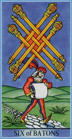 Six of Wands - Dame Fortune's Wheel Tarot by Paul Huson.
