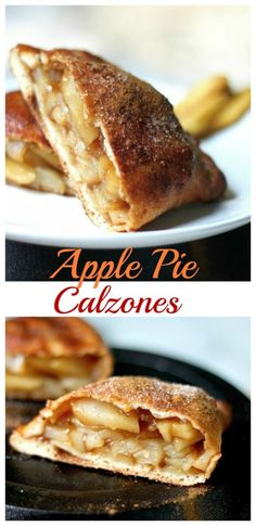 Easy to veganize. Apple Pie Calzones - easy and just as delicious as classic Apple pie! Apple Pie Recipes, Apple Desserts, Köstliche Desserts, Delicious Desserts, Dessert Recipes, Yummy Food, Apple Pies, Fruit Recipes, Apple Pie Recipe Easy