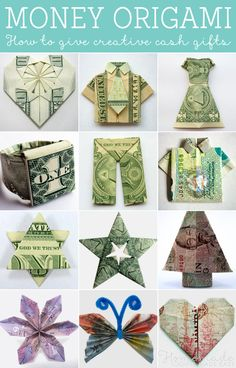 Use money origami (dollar bill origami) to transform your dollar bills into clothing, hearts, flowers, and more. Folding money is a quick and easy way to make a gift. # money origami How to fold Money Origami, or Dollar-Bill Origami Origami Star Box, Origami Love, Origami Fish, Useful Origami, Origami Stars, Origami Envelope, Kids Origami, Origami Flowers, Money Origami Tutorial