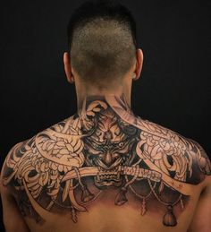 Hannya, chrysanthemums and Shimenawa in-progress by Patrick ( done at Chronic Ink Tattoo - Toronto, Canada Irezumi Tattoos, Yakuza Style Tattoo, Tatuajes Irezumi, Backpiece Tattoo, Hannya Mask Tattoo, Bild Tattoos, Chest Tattoo, Body Art Tattoos, Cool Tattoos