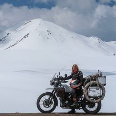 The difference between this snow in Kyrgyzstan and that snowy ride in Tajikistan is the altitude. Himalayan Royal Enfield, Motorcycle Travel, Adventure Tours, Biker Girl, Bikers, Cars And Motorcycles, Motorbikes, Touring, Road Trips