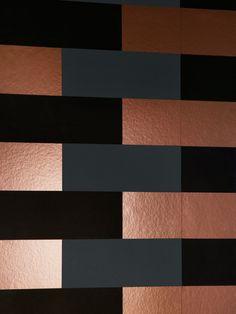 Block Wallpaper - Copper Burnish Grey Black   Monument Interiors