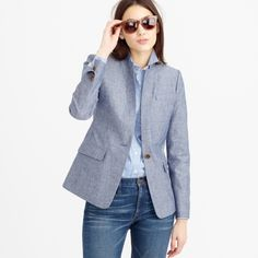 J.Crew Regent Blazer in Chambray Feminine and fitted, popped collar, slightly longer length. Can be dressed up or down, doubles as a jacket. Cotton. Standing collar, flap pockets, lined. Dry clean. J. Crew Jackets & Coats Blazers