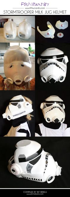 DIY Craft Stormtrooper helmet {whoa!} #Halloween _Costume #DIY #Halloween #HalloweenCostumes #Costumes #recycle #kids #dress-up #milk_jug #easy