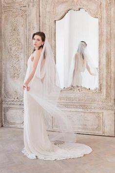 Single tier cut edge wedding veil