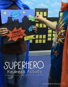Superhero Kindness Activity~Fill a friend's city with kind words of Kryptonite! A perfect icebreaker/bucket filler activity for the first weeks of school! Kindness Projects, Kindness Activities, Learning Activities, Activities For Kids, Crafts For Kids, Mindfulness Activities, Preschool Activities, Teaching Resources, Teaching Ideas