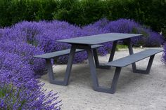 Our PICNIC table in the middle of a sea of lavender - What's not to love? Landscape Architecture, Landscape Design, Architecture Design, Garden Design, Urban Furniture, Street Furniture, Outdoor Furniture, Public Seating, Sustainable Furniture