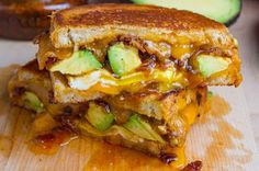 Bacon Jam and Avocado Grilled Cheese Sandwich with Fried Egg - dinner ...