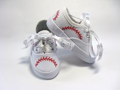 Baseball Shoes, Hand Painted Sneakers, Sports Theme, Boys or Girls, Baby or Toddler by boygirlboygirldesign on Etsy Baseball First Birthday, Sports Themed Birthday Party, Birthday Ideas, Birthday Gifts, Sports Party, Birthday Nails, Birthday Bash, Birthday Parties, Baseball Girls